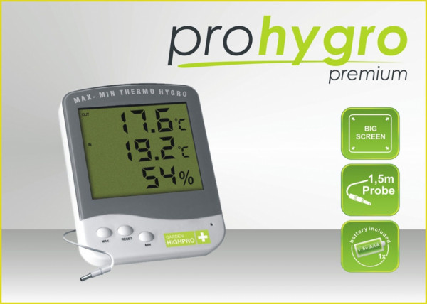 Garden Highpro digitales Min-Max Thermo-/ Hygrometer Premium